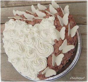 szívtorta fehér csokis kakaós valentin