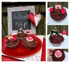 valentin napi csokis cupcake szív