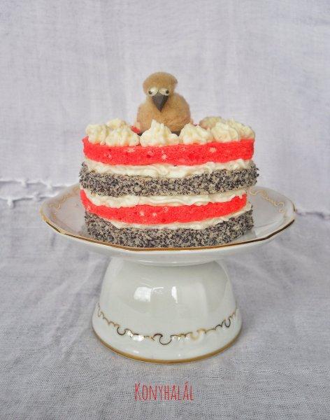 Színes csíkos tortácska torta
