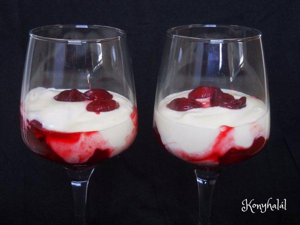 meggyes-tejfölös pohárkrém